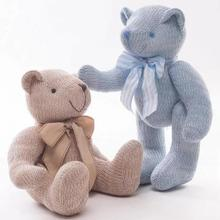 28/35cm Teddy Bears Joint Bear Woolen With Bowtie Appease Baby Soft Doll Stuffed Plush Animal Toy For Baby Plush Toys(China)