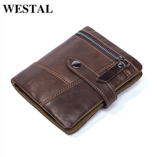 WESTAL Genuine Leather Men Wallets Leather Man Short Wallet Vintage Man Purse Men's Wallets Male Small Wallet Card Holder 8837