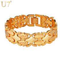 U7 Big Bracelets Bangles Silver/Gold Color Hand Chain Bracelet For Men/Women Gift Jewelry 2017 New H1014