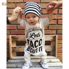 SJR-144 2017 COTTON TACO BUT THIS Sliders of Summer Newborn Children Girl Boy Slippers Overalls Apparel Suits New