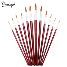 Bianyo 12pcs Different Size Round Tip Light Brown Synthetic Artist Brushes Set Red Wooden Handle Paint Brushes for Art Supplies(China)