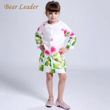 Bear Leader Girls Clothing Sets 2016 Brand Autumn&Witnter Baby Girls Clothes Sunflower Ptint Dress+Jackets for Kids Clothing set(China)