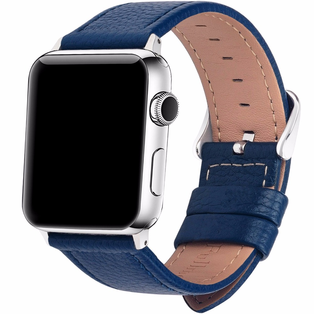 Apple Watch Band Genuine Leather Silver Buckle Series 1 2 3 4 Sport Bracelet Iwatch Strap Fits 44Mm/ 40Mm/ 42Mm/ 38Mm