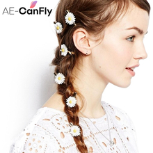 AE-CANFLY 5PCs Women Girls Romantic Small White Daisy Hair Clip Fabric Hair Accessories Gold Hairpins for Hair 2G2002
