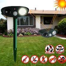 Oval Green Ultrasonic LED Flash Rat Dog Cat Fox Repeller Solar Powered Repellent Animal Pest Reject Garden Pest Control