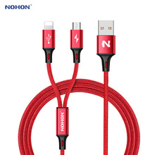 2017 NOHON Type C Micro 8Pin USB Cable 2 in 1 For iPhone 7 6 6S Plus iPad iPod For Samsung Lenovo Nokia LG Android Nylon Cables(China)