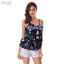 Adyce 2017 New Women Summer Wear Luxury Sequined Spaghetti Strap Top Sleeveless Sexy Celebrity Evening Party Camis Fashion Tops