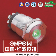 ONPOW 19mm stainless steel latching dot illuminated pushbutton switch LAS1GQ-11ZD/L/G/12V/S
