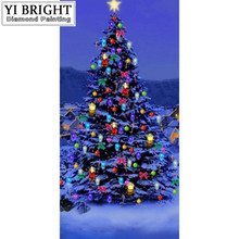 "Diamond Paintings Round Diamond Embroidery Cross Stitch""christmas tree bunch of light""Rhinestone Painting Decorations Mosaic YYM(China)"