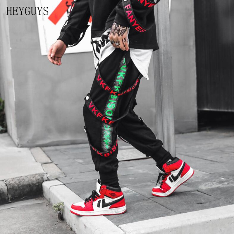 HEYGUYS  Eden Side Stripe Button Ribbons Harem Sweatpants Men Cotton Black Harajuku Joggers Casual Streetwear Track Pants