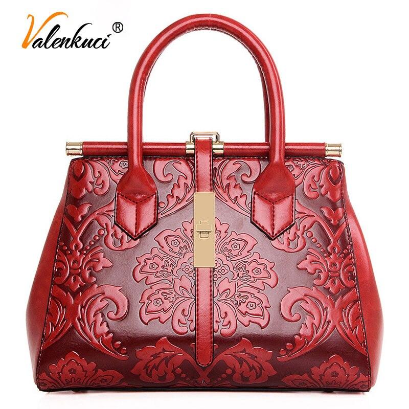 Valenkuci New Arrival Women Messenger Bags Leather Bag Real  Leather Handbags Women Vintage bag Brands Women Shoulder Bag SD-436<br>
