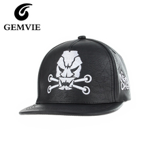 Faux Leather Casual Character Skull and Letters Baseball Hats Mens Hip Hop Black White PU Snapback Caps Pattern Style Women