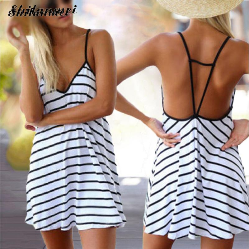 New Sexy Bohemian Beach Dress Robe Femme Ete Sleeveless A-Line Stripe Mini Backless Dresses Summer Short Sundress Vestidos Mujer