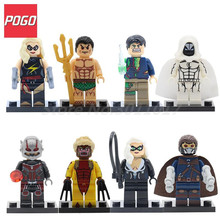 POGO Super Heroes Captain Marvel Namor Moon Knight Sabretooth Action Building Blocks Bricks Educational Toys For Children Gifts