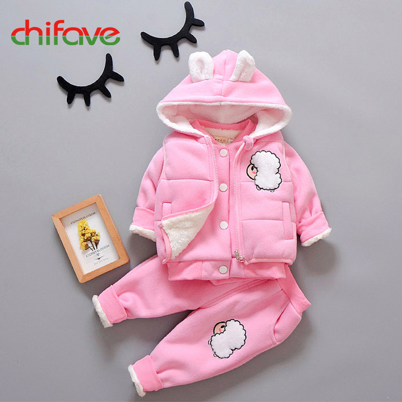 chifave Baby Girls Boys Sets New Winter Warm Hooded Kids Girls Boys Clothes 3 pieces Sets 2017 Fashion Children Winter Sets New<br>