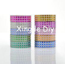 10PCS 15mm4m Mix colors checked Origami Handmade paper DIY For school Washi Tape Book Decoration DIY Adhesive Paper Scrapbook(China)