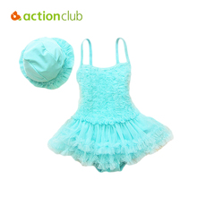 Actionclub Baby Lace Girl Swimsuit Summer Beach One Piece Swimwear Kids Bathing Suit Pink Purple Princess Dress Swim Suits SA119(China)