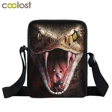 Dark Gothic Animals Cobra Snake / Wolf Mini Messenger Bag Men Women Punk Shoulder Bag Boys Girls Book Bags Kids Gift Cross Bags(China)