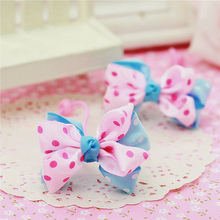 boutique dot hairbows child baby hair bows for girls elastic tiara kids headbands silk ribbon flower crown hairband accessories(China)