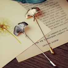 2015 Vintage Brooches  Unisex Collar Pins Ginkgo Biloba Leaf Lapel Pin Brooch Pins Men flower leaf tassel chain brooch bijoux