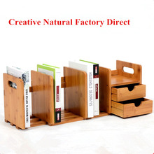 Scalable Bamboo Desktop Bookshelf Bookcase Storage Holder Home Office Book Holder Shelf Accessory For Students Office(China)