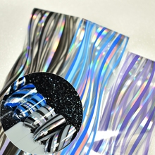 Holographic Nail Design Decals Water Wave Triangle Pattern Plastic Wrap Full Size Transfer Nail Foil Sticker Easy to Use