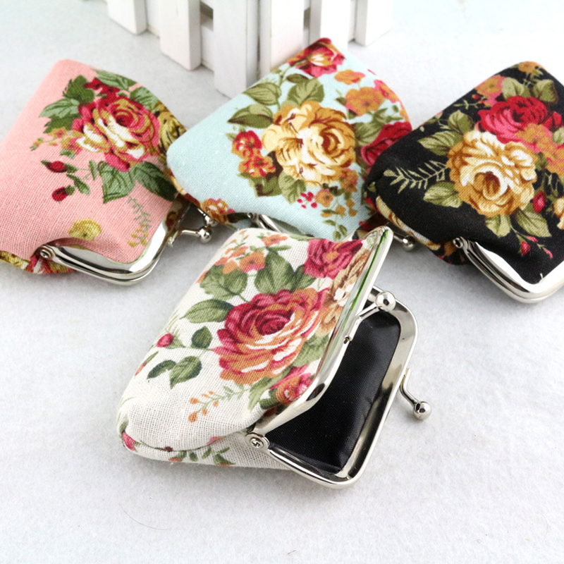 Floral Print Cotton Fabric Womens Purse Small Coins Purses Flower Ladys Changes Wallet Mini Bag Fashion Style Coin Clip Pouch<br><br>Aliexpress