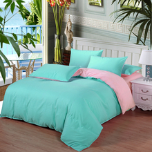 bedroom Solid color bed linen edredon king Single kids size 4 piece bedding set quilt cover bed sheet pillow case dekbedovertrek