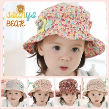 Spring Summer cute children 's hat flowers kids toddler girl summer pearl floral cap newborn baby sun hat 3pcs/lot #MZ5005(China)