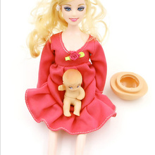 The explosion of Bobbi doll toy doll series of pregnant women (belly inside vinyl baby) loaded girls favorite doll toy gift(China)