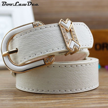 BooLawDee Female casual PU belt alloy buckle with heart shaped diamond for jeans red black brown white blue yellow pink Y461
