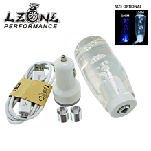 LZONE RACING - 10CM OR 15CM LED Light Color Bubble Gear Manual Shift Knob With 2 USB Interface Charger And Data Wire JR-GSK18/19