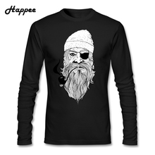 Bad Ass Pirate T-Shirts Men's Autumn O-Neck Long Sleeve Bad Ass Pirate Tee Shirts Male Clothes Life T Shirts Tops(China)