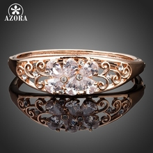 AZORA Rose Gold Color Two Flowers With Clear Cubic Zirconia Bangle Bracelet TB0053