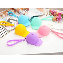 Cute Solid Candy Color Ball Cap Hat Coin Purse Mini Silicone Bag Storage Key Cases Kids Wallets Hand Purse Gift Kawaii Bags(China)
