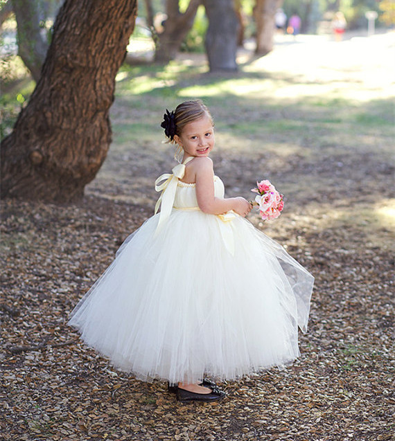 champagne tutu tulle baby bridesmaid flower girl wedding dress fluffy ball gown birthday princess evening prom cloth party dress<br>