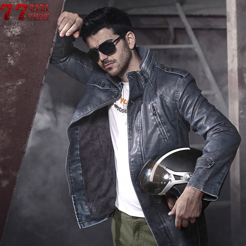 QIQICHEN Thick Fleece Motorcycle PU Leather Jacket Men 2018 Fashion Bomber Leather Coat Stand Collar Pilot Faux Leather Jackets