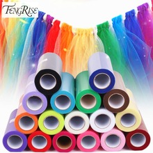 FENGRISE Tulle Roll 15cm 25 Yards Wedding Party Decoration DIY Tutu Fabric Decorative Crafts Christmas Kids Queen Skirts(China)