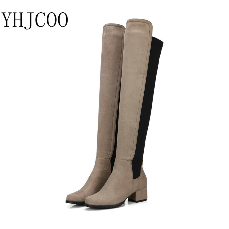 2017New High Quality Lycra Stitching Knee-High Womens Boots Round Toe Square Heel Womens Shoes size 34-43 five colors<br>