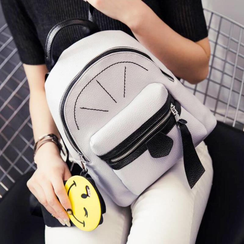 Fashion Simple Designer Small Backpack Women White and Black Travel Backpacks Ladies emale Rucksack Back School Bags For Girl<br>