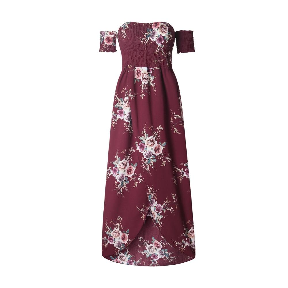 LOSSKY Off Shoulder Vintage Print Maxi Summer Dress 14
