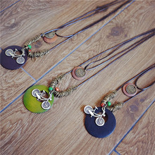 Trendy Korean Style Wood Bicycle Pendant Multilayer Statement Necklace For Women Office Lady Jewelry