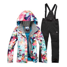 High Quality female Snow Snowboarding suit sets Outdoor Sports skiing clothing Waterproof -30 Warm Costume Ski jackets+pants(China)