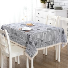 DAXIAOBU Cotton Linen Print Natural Wood Round Grain Customed Tablecloth Cover Table Deco 1220a