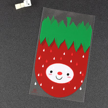 12*20cm 100pcs/Set Plastic Transparent strawberry Candy Cookie Gift Bag Pouch Wedding Birthday celebration Party Wholesale