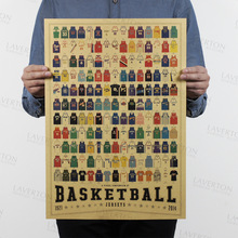 Free shipping,Jerseys set aggregate/Basketball Jersey clothes/kraft paper/bar poster/Retro Poster/decorative painting 51x35.5cm(China)
