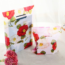 New Style Red Flower Plastic Gift Bags With Handles 100pcs/lot 15*20cm Plastic Packaging For Mini Jewelry Christmas Gift Pouches(China)