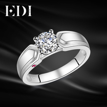 EDI Solitaire 0.8ct Round Cut Moissanites Diamond Natural Ruby 14k 585 White Gold Ring For Women Wedding Jewelry(China)