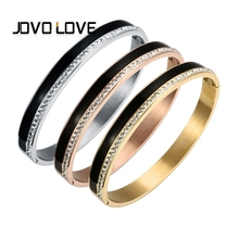JOVO New Black/White Color Stainless Steel Bracelets & Bangles Charm Cubic Zirconia Female Open Cuff Bracelets for Women Men(China)