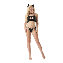 Buy Leechee Y127 Women sexy lingerie hollow three-point uniform temptation wrapped chest erotic underwear satin suit porn costumes